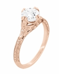 Art Deco Rose Gold Filigree Flowers 3/4 Carat Vintage Engraved Engagement Ring Mounting | 6mm Round Stone