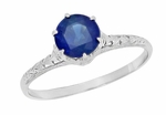 Edwardian High Set Solitaire Blue Sapphire Engagement Ring in Platinum