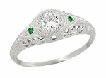 Art Deco Vintage Engraved Filigree Diamond Engagement Ring with Emerald Side Stones in 14K White Gold
