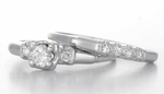 1950s Granat Brothers Vintage Diamond Engagement and Wedding Ring Set in 18K White Gold