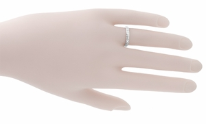 Palm Leaves Carved Wedding Ring in 14 Karat White Gold - Item R620 - Image 1