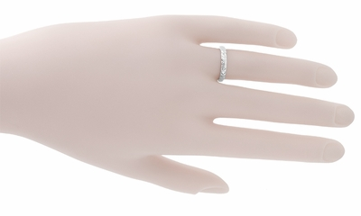 Palm Leaves Carved Wedding Ring in 14 Karat White Gold - 3mm - Item R620 - Image 1