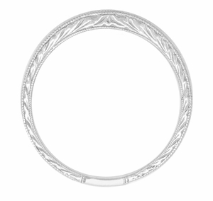 Art Deco Curved Engraved Wheat Wedding Band in 14 Karat White Gold - Item R635 - Image 1