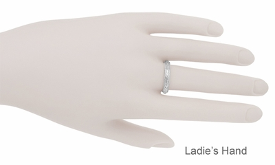 Art Deco Millgrain Edged Hand Engraved Wheat Wedding Ring in 14K White Gold | 4mm Antique Inspired Carved Band - Item R636 - Image 3