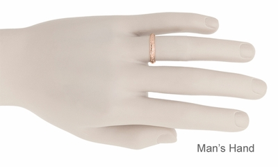 Art Deco Hand Engraved Wheat Wedding Ring in 14 Karat Rose Gold with Millgrain Edge  - Item R636R - Image 4