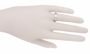 Grooved Edge Wedding Band in 14 Karat White Gold - Item R653ND - Image 1