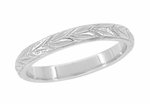 Art Deco Vintage Leaves Wedding Band in Platinum | Classic Engraved 1920s Wedding Ring Reproduction