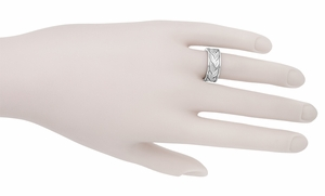 Ring of Leaves Heavy Wide Wedding Band in 14 Karat White Gold - Item R805 - Image 3