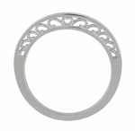 Filigree Curved Scroll Heart Wedding Ring in 14K White Gold | Contoured Vintage Band