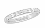 Flower of Love Engraved 18K White Gold Vintage Wedding Band - Size 7 - J.R. Wood Ring