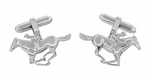 Race Horse and Jockey Cufflinks in Sterling Silver