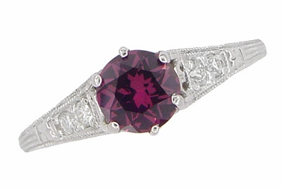 Raspberry Rhodolite Garnet and Diamond Filigree Engagement Ring in Platinum - Item R158GP - Image 3