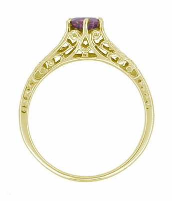 Raspberry Rhodolite Garnet and Diamond Filigree Ring in 14 Karat Yellow Gold - Item R158GY - Image 1