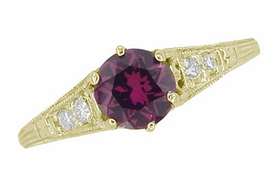 Raspberry Rhodolite Garnet and Diamond Filigree Ring in 14 Karat Yellow Gold - Item R158GY - Image 3