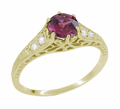 Raspberry Rhodolite Garnet and Diamond Filigree Ring in 14 Karat Yellow Gold - Item R158GY - Image 4