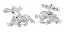 Razorback Hog Cufflinks in Sterling Silver