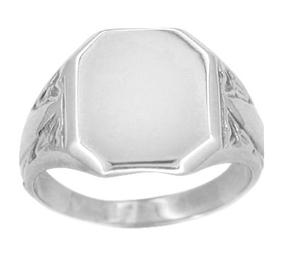 Rectangular Victorian Signet Ring in 14 Karat White Gold