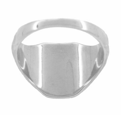 Rectangular Victorian Signet Ring in 14 Karat White Gold - Item MR119W - Image 2