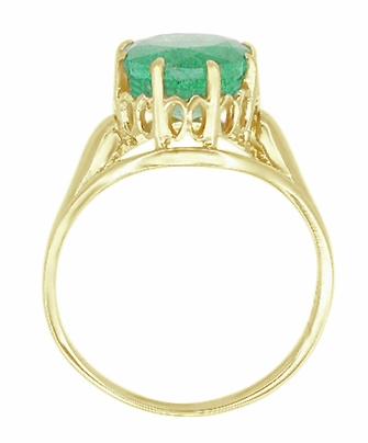 Regal Emerald Crown Engagement Ring in 14 Karat Yellow Gold - Item R419Y - Image 1