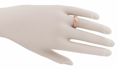 Retro Engraved Roses 14 Karat Rose ( Pink ) Gold Wedding Band - Item R1144R - Image 2