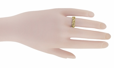Retro Filigree Lilies Wedding Band in 14 Karat Yellow Gold - 6mm - Item R684Y - Image 2