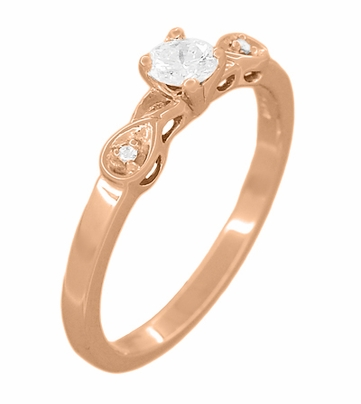 Retro Moderne 1/4 Carat Certified Diamond Engagement Ring in 14 Karat Rose Gold | 1940's Vintage Replica - Item R380R25 - Image 1