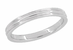 Retro Moderne 3mm Double Grooved Wedding Band Ring in 14 Karat White Gold | 1950s