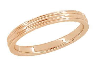 4mm Retro Moderne Double Grooved Wedding Band in 14K Red Gold