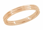 Retro Moderne 4mm Double Grooved Wedding Band Ring in 14 Karat Rose Gold