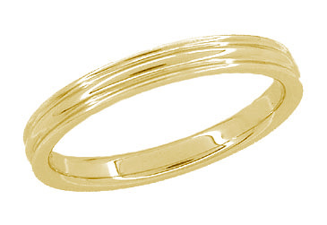 4mm Double Grooved Wedding Ring - 14K Yellow Gold