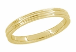 Retro Moderne 4mm Double Grooved Wedding Band Ring in 14 Karat Yellow Gold
