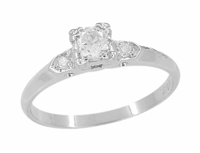 Retro Moderne Antique 14 Karat White Gold Diamond Engagement Ring - Item R672 - Image 1