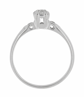 Retro Moderne Antique 14 Karat White Gold Diamond Engagement Ring - Item R672 - Image 2