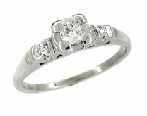 Retro Moderne Antique Diamond Engagement Ring in 14 Karat White Gold