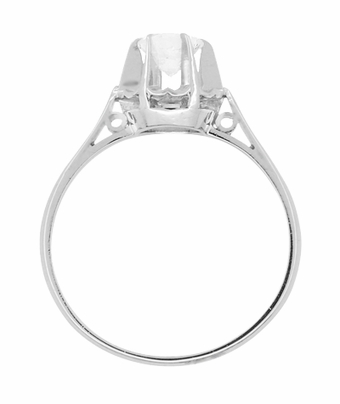 Retro Moderne Buttercup Vintage Diamond Engagement Ring in Platinum - Item R1046 - Image 2