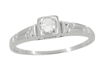 Retro Moderne Diamond Antique Engagement Ring in 18 Karat White Gold