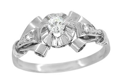 Retro Moderne Diamond Antique Engagement Ring in Platinum