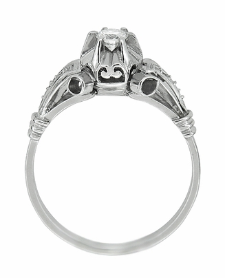 Retro Moderne Diamond Antique Engagement Ring in Platinum - Item R1051 - Image 2