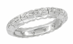 Vintage Retro Moderne Scallop Edge Diamond Wedding Band in Platinum - Size 7