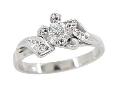 Retro Moderne Diamond Bypass Antique Engagement Ring in 18 Karat White Gold
