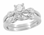 Retro Moderne Diamond Engagement Ring and Wedding Ring Set in 14 Karat White Gold