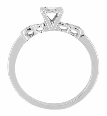 Retro Moderne Circle Illusion Petite Diamond Engagement Ring in 14K White Gold - Item R380 - Image 1