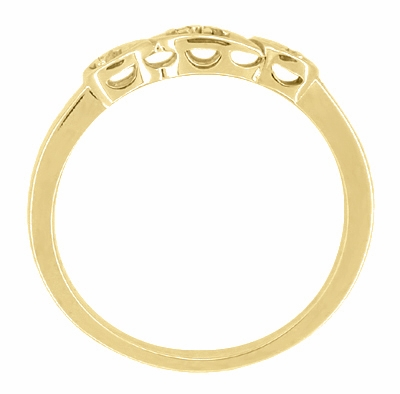 Retro Moderne Diamond Set Filigree Wedding Ring in 14 Karat Yellow Gold - Item WR380Y - Image 1
