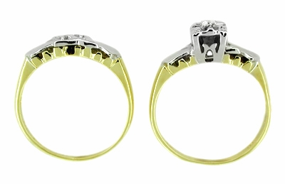 Retro Moderne Diamond Wedding Set in 14 Karat White and Yellow Gold - Item R226 - Image 1