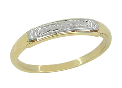Retro Moderne Engraved Flowers Wedding Band in 14 Karat Yellow and White Gold