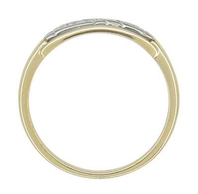 Retro Moderne Engraved Flowers Wedding Band in 14 Karat Yellow and White Gold - Item R922 - Image 2