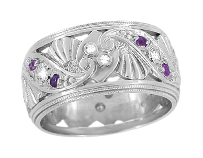 Retro Moderne Filigree Amethyst and Diamond Wide Wedding Ring in 14 Karat White Gold