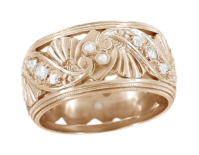 Retro Moderne Filigree Diamond Wide Wedding Ring in 14 Karat Rose Gold | Heirloom 1950s Pink Gold Carved Eternity Band