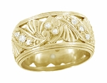 Retro Moderne Filigree Diamond Wide Wedding Ring in 14 Karat Yellow Gold | 1950s Vintage Eternity Band Reproduction