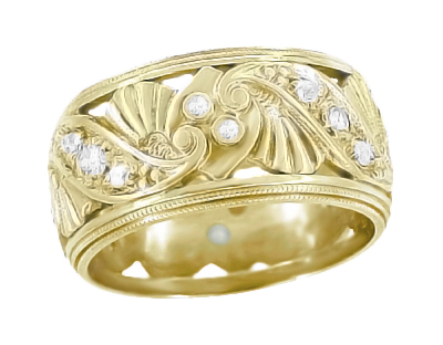Retro Moderne Filigree Fan Scrolls Wide Diamond Wedding Ring - 14K Yellow Gold 1950s Vintage Eternity Band Reproduction